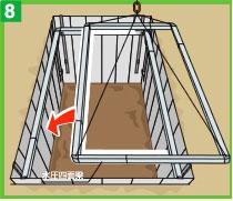 現場が広く大型の掘削機をご使用の場合は、四面梁を組み立てた状態で設置する事もできます。